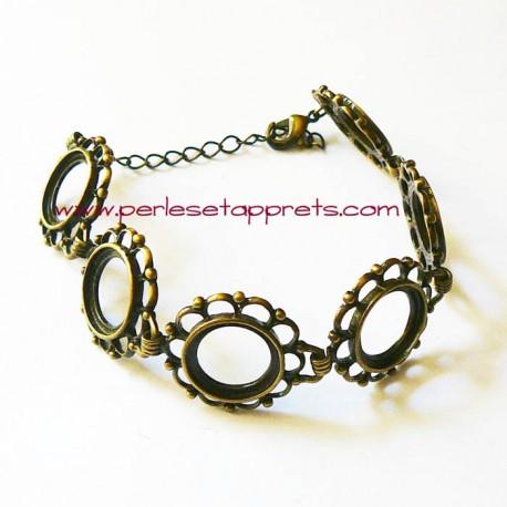 Bracelet souple réglable en laiton cabochon rond