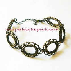 Bracelet souple réglable en laiton cabochon ovale