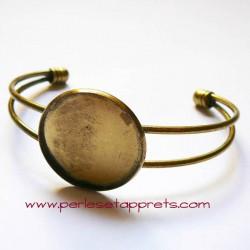 Bracelet jonc rond réglable en laiton 25mm à décorer, perles et apprêts