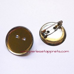 Broche ronde attache argentée 23mm