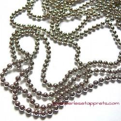Chaîne bille 2mm en métal argent rhodié, pour bijoux, perles et apprêts