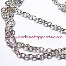Chaîne maille forçat 3mm en métal argent, pour bijoux, perles et apprêts