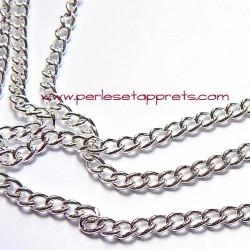 Chaîne maille gourmette 4mm en métal argent, pour bijoux, perles et apprêts