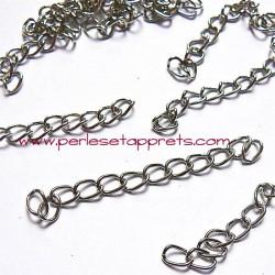 Chaînette d'extension 50mm argent rhodié, pour bijoux, perles et apprêts