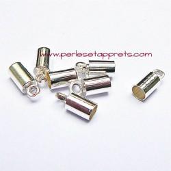Lot 10 embouts 4mm en métal argenté pour cordon bijoux perles et apprêts