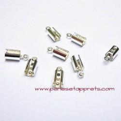 Lot 10 embouts 4mm en métal argenté pour cordon, ruban bijoux perles et apprêts