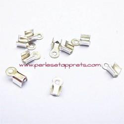 Lot 20 embouts 4mm en métal argenté pour ruban cordon perles et apprêts
