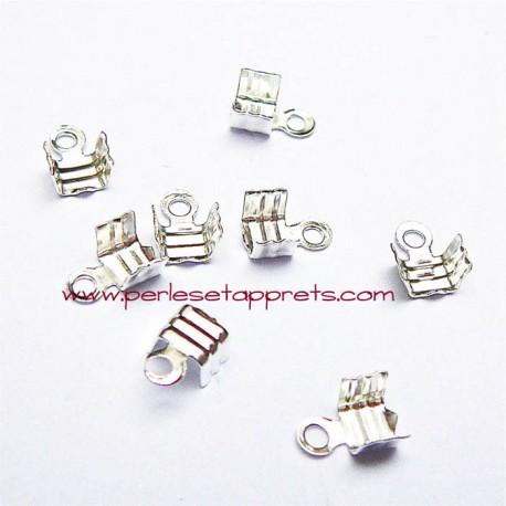 Lot 30 embouts 3mm en métal argenté pour ruban cordon bijoux perles et apprêts