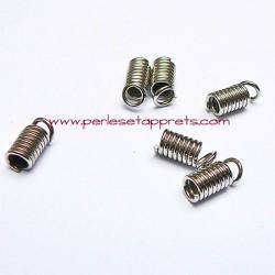 Lot 10 embouts ressort 2mm en métal argenté rhodié pour ruban cordon bijoux perles et apprêts