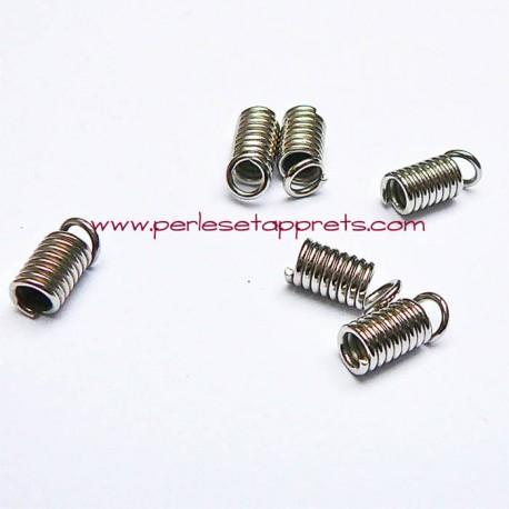 Lot 10 embouts ressort 2mm en métal argenté pour ruban cordon bijoux perles et apprêts