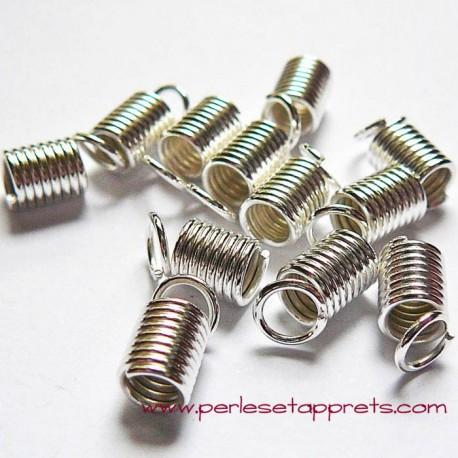 Lot 10 embouts ressort 4mm en métal argenté pour cordon, ruban bijoux perles et apprêts
