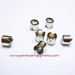 Lot 10 embouts 8mm en métal argenté rhodié pour cordon ruban bijoux perles et apprêts