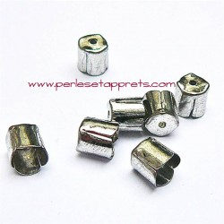 Lot 10 embouts 6mm en métal argenté pour cordon ruban bijoux perles et apprêts