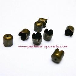 Lot 10 embouts 6mm en métal couleur bronze antique laiton pour cordon ruban bijoux perles et apprêts