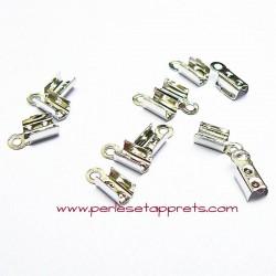 Lot 20 embouts plat 4mm en métal argenté pour cordon ruban bijoux perles et apprêts