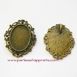 Pendentif ovale 37mm métal couleur bronze