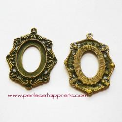 Pendentif ovale en métal bronze laiton 40mm à décorer, pour cabochons bijoux perles et apprêts