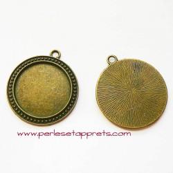 Pendentif rond 4cm en métal couleur bronze