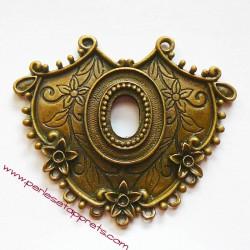 Grand pendentif en métal bronze laiton 60mm à décorer pour bijoux perles et apprêts
