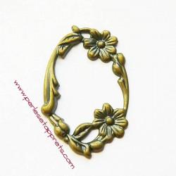 Pendentif cadre ovale fleurs en métal bronze laiton 45mm, à décorer, pour cabochons perles et apprêts