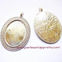Pendentif ovale 5cm en métal argenté pour cabochons bijoux à décorer perles et apprêts