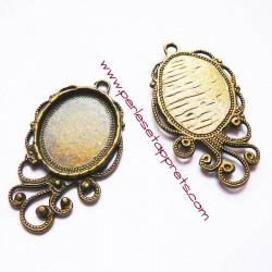 Pendentif ovale 4cm en laiton métal couleur bronze antique pour bijoux perles et apprêts