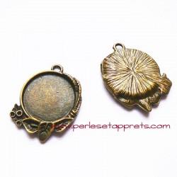Pendentif rond en métal bronze laiton 23mm, à décorer, pour cabochons bijoux perles et apprêts