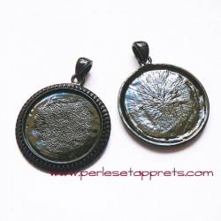 Pendentif rond noir 30mm pour cabochons bijoux à décorer perles et apprêts