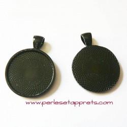 Pendentif rond noir 27mm pour cabochons bijoux à décorer perles et apprêts