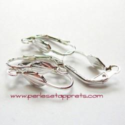 Boucles d'oreilles attache dormeuse en métal argenté 18mm à décorer, perles et apprêts