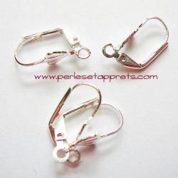 lot 10 boucles d'oreilles attache dormeuse en métal argenté 16mm à décorer perles et apprêts