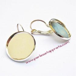 Boucle d'oreilles dormeuse ronde en métal argenté 18mm à décorer, perles et apprêts