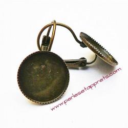 Boucle d'oreille rétro dormeuse ronde en bronze laiton 14mm, à décorer perles et apprêts