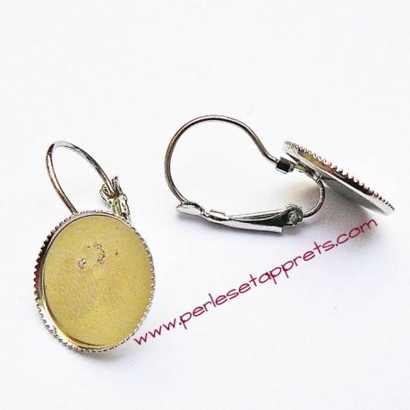 Lot 10 boucles d'oreilles dormeuse argent rhodié rhodium 14mm  décorer, perles et apprêts