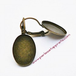 Lot 10 boucles d'oreilles dormeuse ovale 18mm en bronze laiton à décorer, perles et apprêts