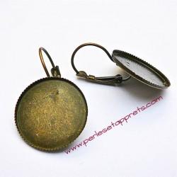 Lot 10 boucles d'oreilles dormeuse en bronze laiton 20mm à décorer, perles et apprêts