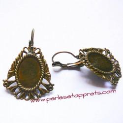 Boucle d'oreilles dormeuse ovale 26mm en bronze laiton, perles et apprêts