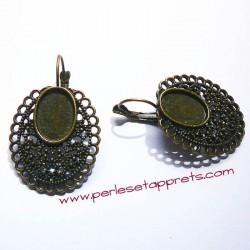 Boucle d'oreilles dormeuse ovale 30mm en bronze, perles et apprêts