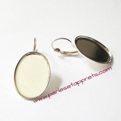 Boucle d'oreilles dormeuse ovale en métal argenté 25mm à décorer perles et apprêts