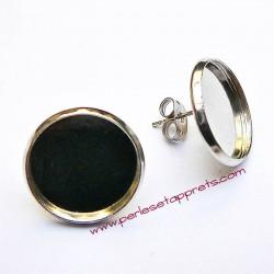 Boucles d'oreilles puce ronde en métal argenté rhodié 16mm à décorer, perles et apprêts