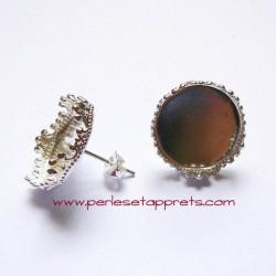 Boucles d'oreilles puce ronde ciselée en métal argenté 15mm, à décorer perles et apprêts