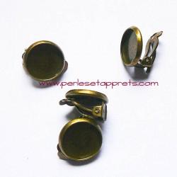 Boucle d'oreilles clip 12mm en bronze laiton, à décorer, perles et apprêts