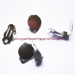 Boucle d'oreilles clip plat 15mm argent rhodié, perles et apprêts