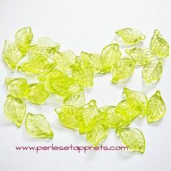Feuille synthétique verte 18mm pour bijoux, perles et apprêts