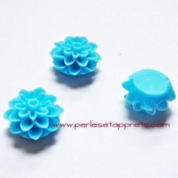 Cabochon résine dahlia bleue 15mm pour bijoux, perles et apprêts