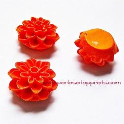 Cabochon résine dahlia orange 15mm pour bijoux, perles et apprêts