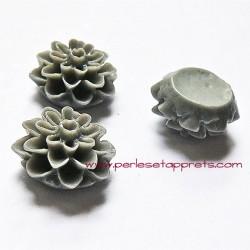 Cabochon résine dahlia grise 15mm pour bijoux, perles et apprêts