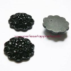 Cabochon résine bouquet de fleurs noir 20mm pour bijoux, perles et apprêts