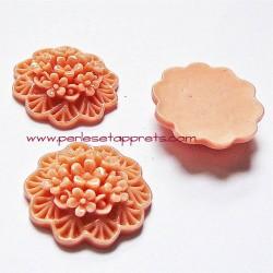 Cabochon résine bouquet de fleurs vieux rose 20mm pour bijoux, perles et apprêts