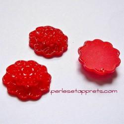 Cabochon résine bouquet de fleurs rouge 20mm pour bijoux, perles et apprêts